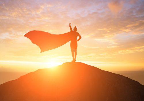 Superhero on hill